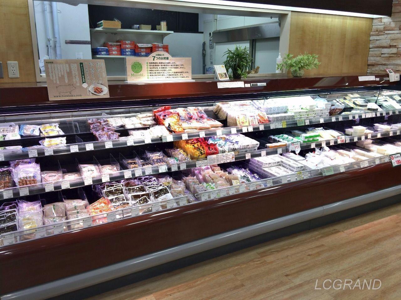 ムズビガーデン桜新町店のお豆腐などを売っているコーナー