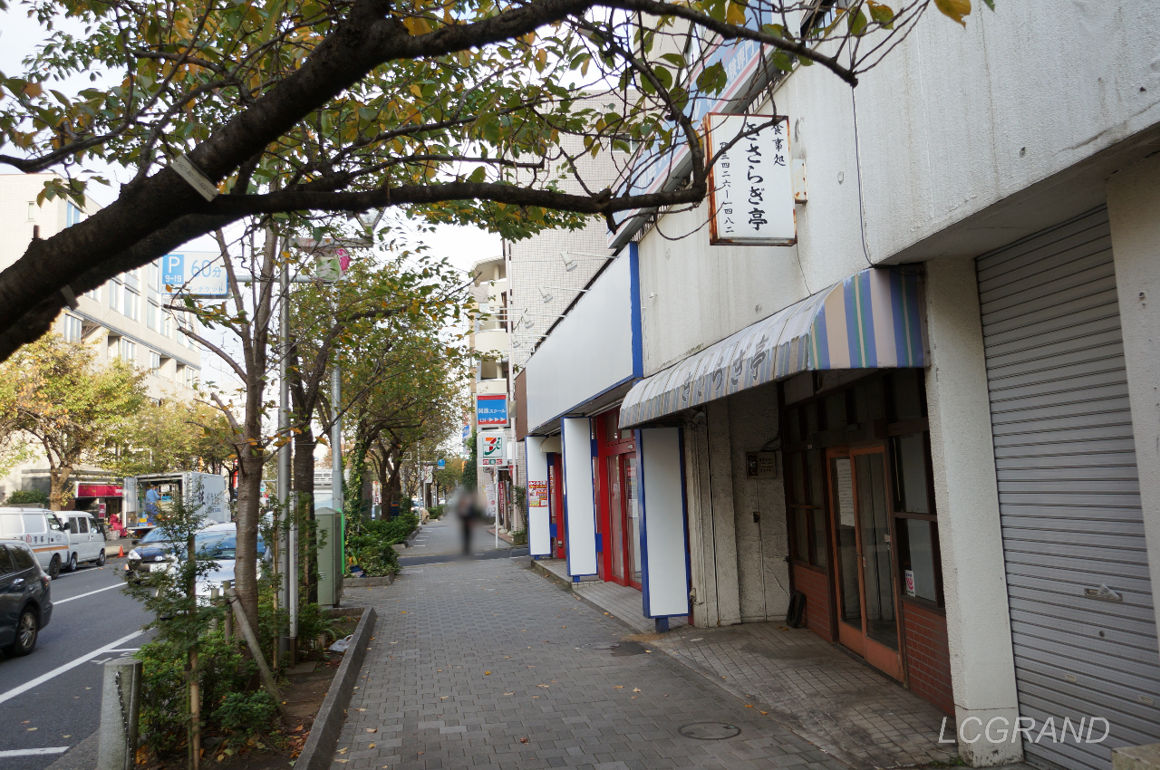 きさらぎ亭のある通り 木々もすっかり秋色になり閉店の寂しさが際立ちます。