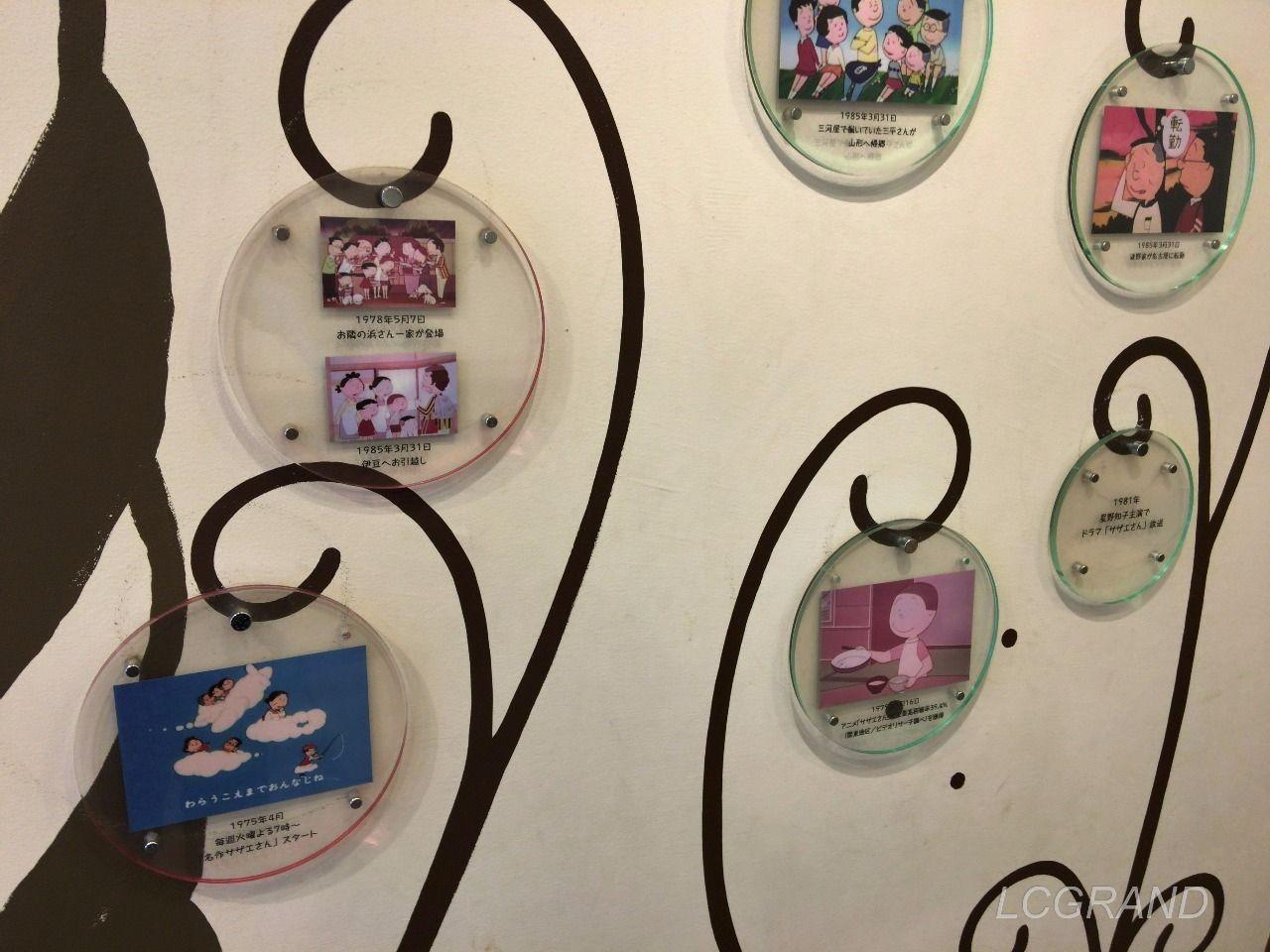 壁に飾られたアニメ画像付きのサザエさんの歴史