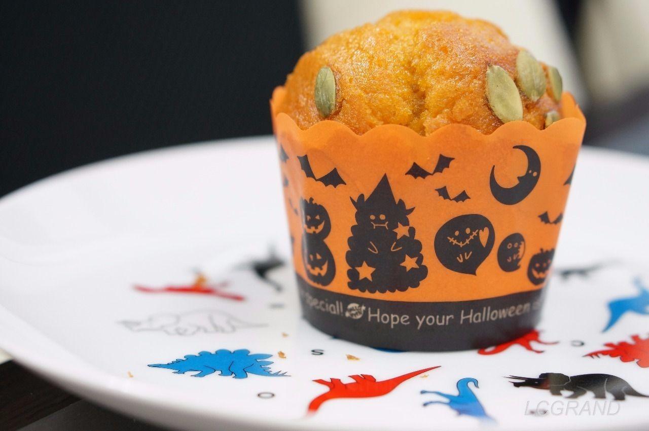 ハロウィンのパッケージを付けたサンジェルマン用賀店の北海道かぼちゃのしっとりマフィン