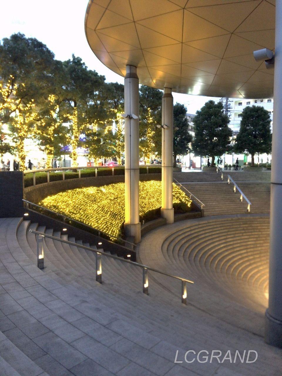 劇場のような円形の階段には高くそびえる屋根があります。その形はまるでUFOみたいです。